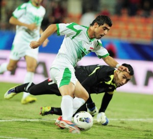 A highlight from iraq syria match in WAFF Championship